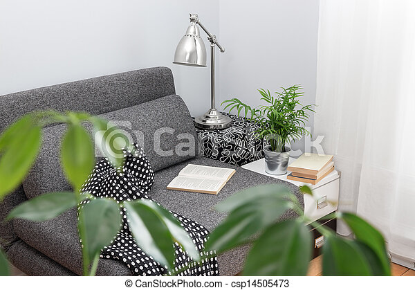 Comfortable place for reading in a living room - csp14505473