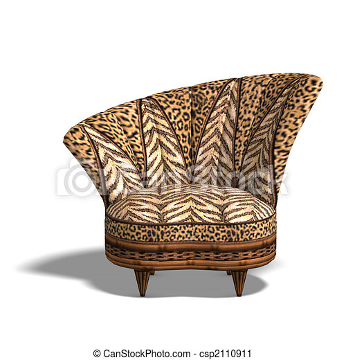 Comfy chair with african design Cushy sofa with animal clipart