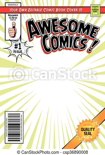 comic book cover template illustration of a cartoon editable comic