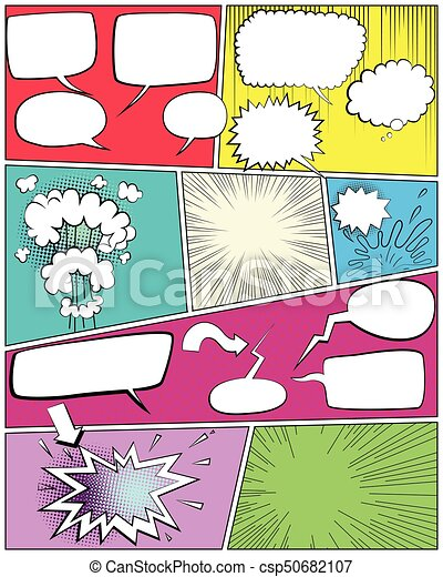 Comic book page template With empty speech bubbles