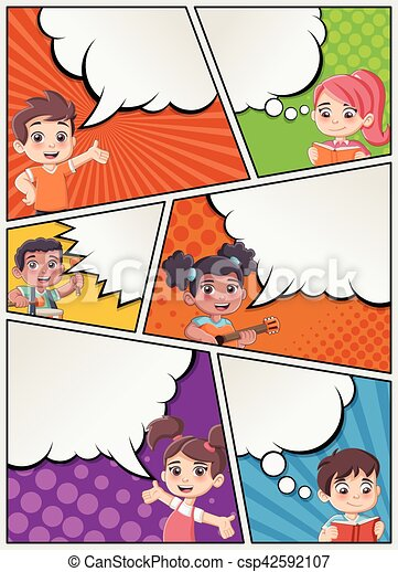 Comic Book Page With Children Talking Comic Strip Background With