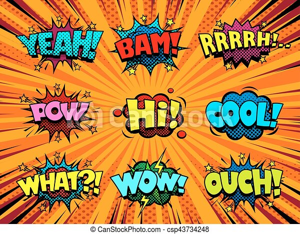 comic book sound effect speech bubbles marveling and enjoying