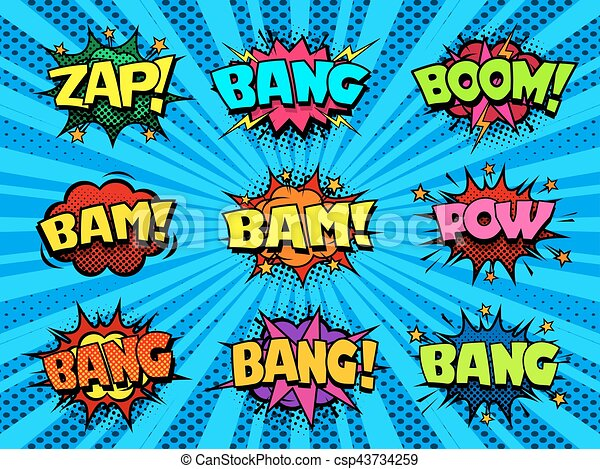comic book speech bubbles cool blast and crash sound effect