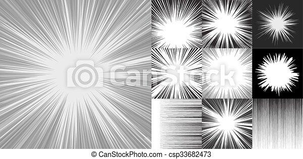 Horizontal Line Art : Comic book speed horizontal lines background set of ten vectors