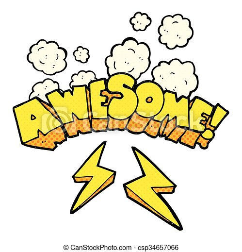 comic book style cartoon word awesome - csp34657066