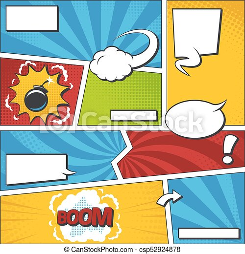 comic book vector frame set with speech bubbles comics page rh canstockphoto com comic book vector template comic book vector graphics