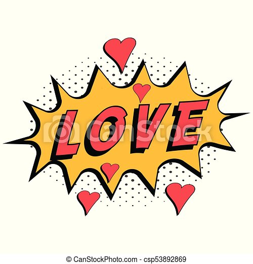 comic book word love with hearts pop art style with halftone clip rh canstockphoto com comic book clip art free comic book clipart black and white
