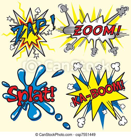 Comic Book Zap, Zoom, Splat, Kaboom - csp7551449