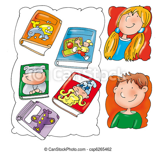 comic books children s reading boy and girl rh canstockphoto com comic book words clipart comic book superheroes clipart