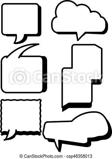 comic bubbles text boxes set with blank speech box vector illustration