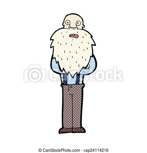 Back To The Yellow Face Long Beard Old Man Clipart