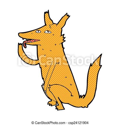 comic cartoon fox licking paw - csp24121904