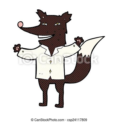 comic cartoon happy wolf wearing shirt - csp24117809