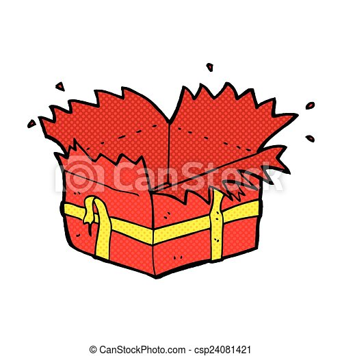open present clipart. vector comic cartoon open present clipart