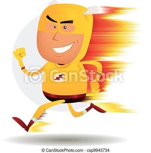 Comic Fast Running Superhero - csp9943734