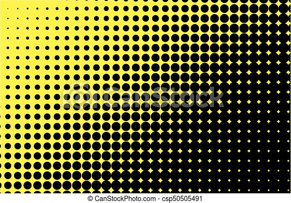 Comic Pattern Halftone Background Black Yellow Color Dotted Retro