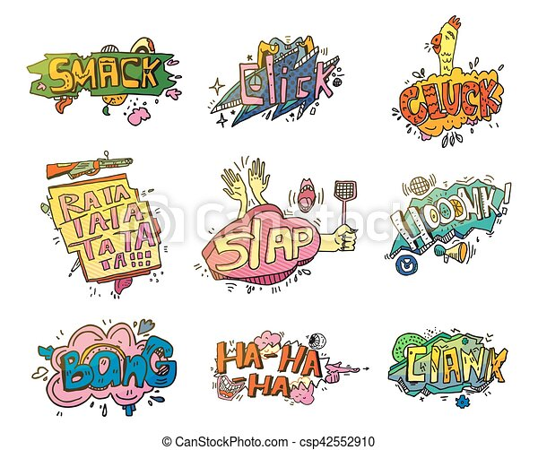 Comic speech bubbles for sound exclamation
