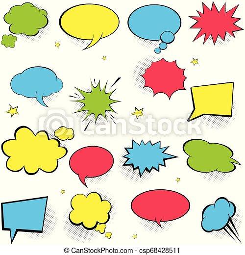 Comic Speech Bubbles Pop Art Vector Label Illustration Vintage Comics Book Poster On Blue Background Colored Funny Font