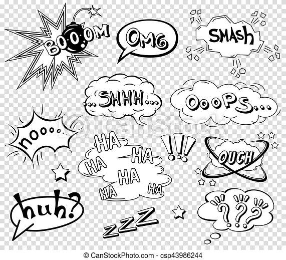 comic speech bubbles set wording sound effect design for background