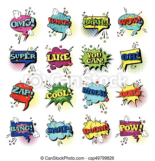 Comic Speech Chat Bubble Set Pop Art Style Sound Expression Text Icons Collection - csp49799826