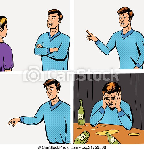 Comic strip with debate of two persons vector - csp31759508