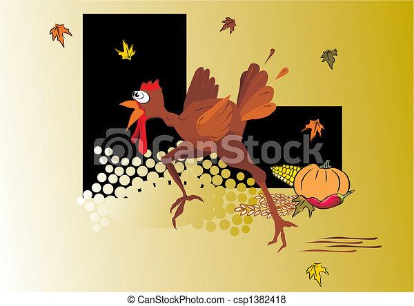 comic turkey running - csp1382418
