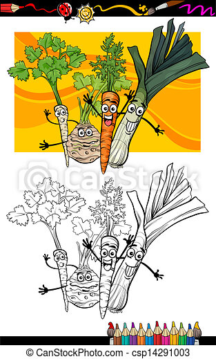 comic vegetables group for coloring book - csp14291003