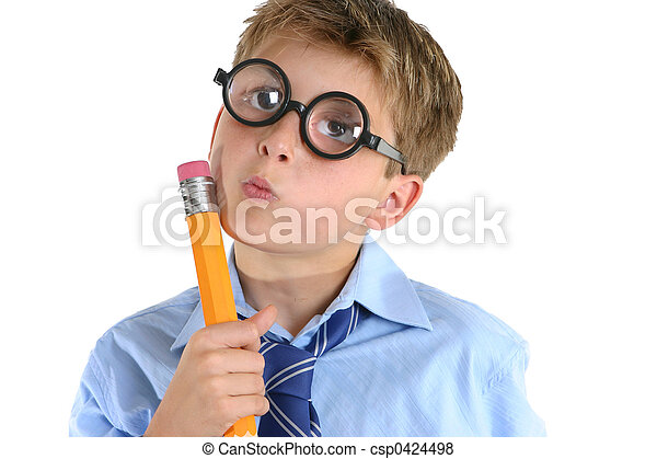 Comical boy holding a pencil and thinking - csp0424498
