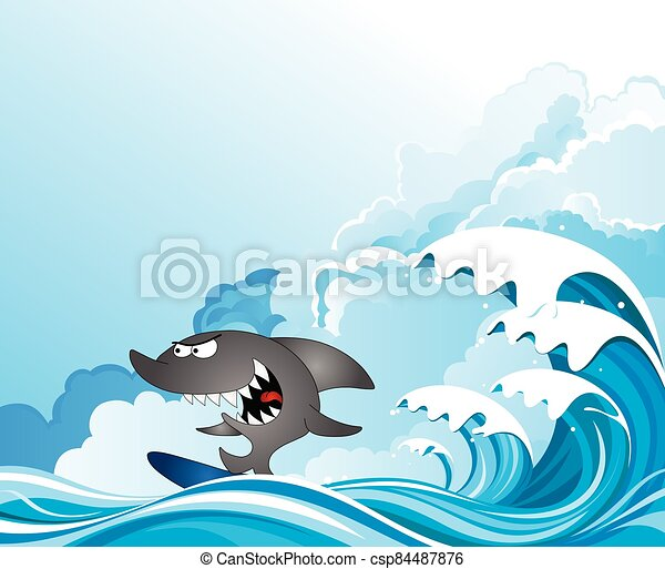 Comical shark surfer - csp84487876