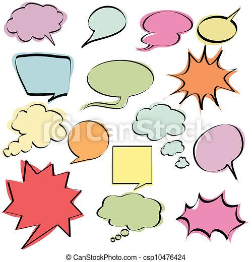 comico, discorso, bolle, colorito - csp10476424