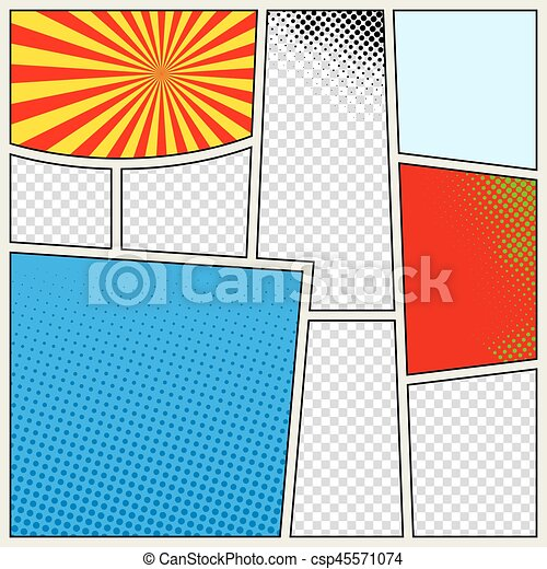Comics book background in different colors. Blank template background. Pop-art style - csp45571074
