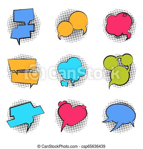 Comics bubble. Cartoon speech pop art balloon talk chat funny cloud massage comic dialog bubble text label. Vector retro shape set - csp65636439
