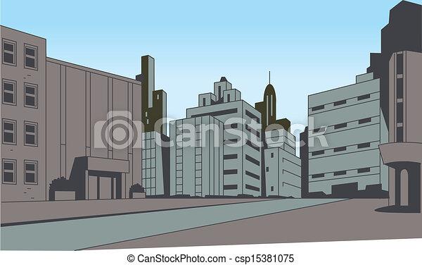 Comics City Street Scene Background - csp15381075