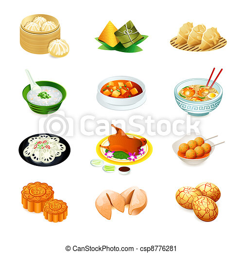 comida chinês, ícones - csp8776281