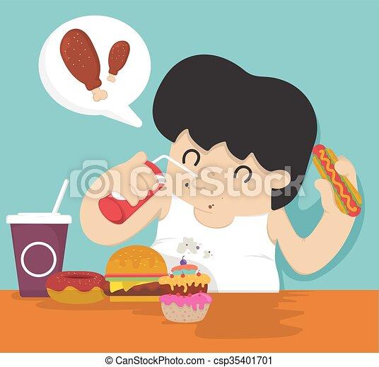 Hombre gordo comiendo - csp35401701