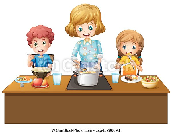 Familia comiendo en la mesa - csp45296093