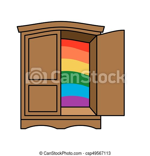 Coming Out Wardrobe Lgbt Symbol Open Closet Door Get Of Gay Recognition Furniture Vector