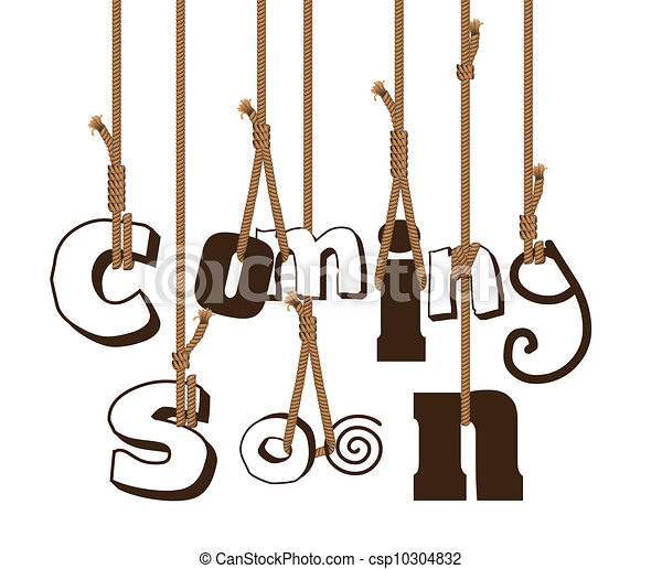 illustration of strings holding sign coming soon vector rh canstockphoto com