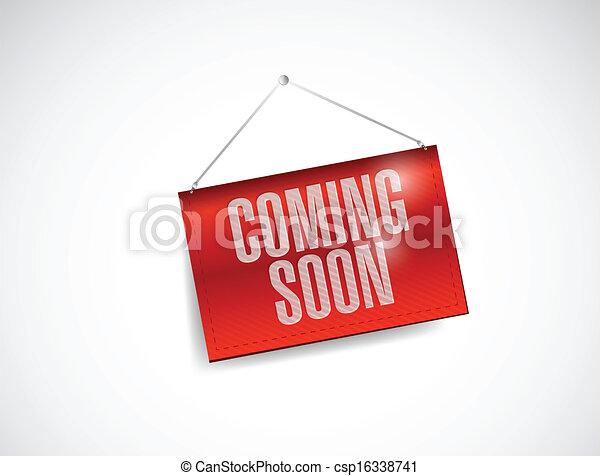 coming soon hanging banner illustration design - csp16338741