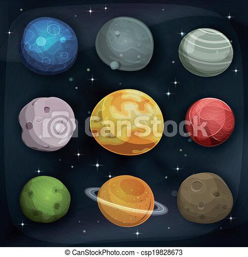 comique, ensemble, fond, planètes, espace - csp19828673