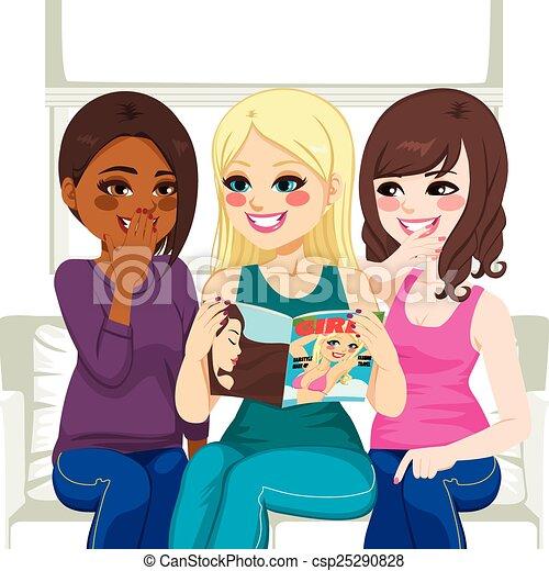 commérage, magazine, lecture, mode, femmes - csp25290828
