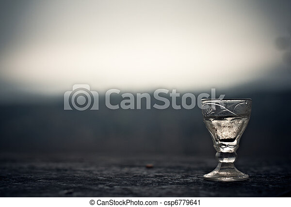 commemorative glass of vodka at the Russian cemetery unknown soldier - csp6779641