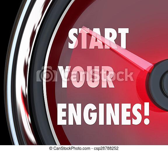 commencer, moteurs, concurrence, début, jeu, course, compteur vitesse, ton - csp28788252