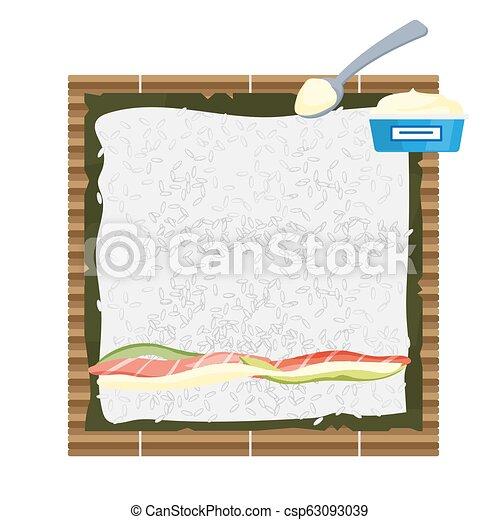 comment, faire, sushi, rouleaux, maison - csp63093039