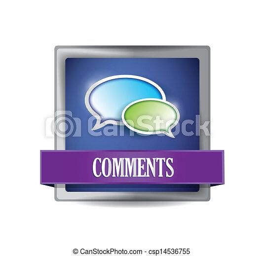 Comments blue button illustration design - csp14536755