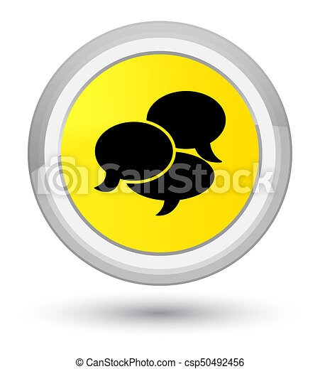 Comments icon prime yellow round button - csp50492456