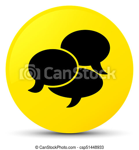 Comments icon yellow round button - csp51448933