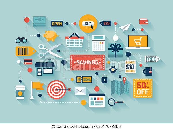 commerce, économies, illustration, plat - csp17672268