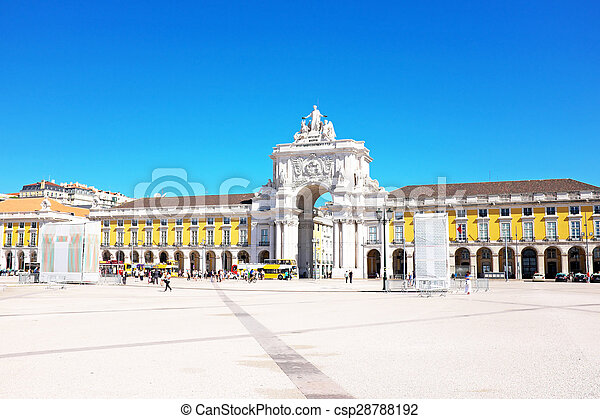 Commerce square, one of the most important landmarks of Lisbon, with the famous Triumphal Arch in  Portugal - csp28788192