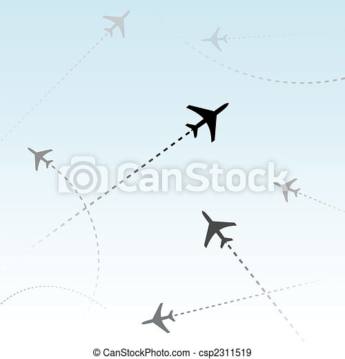 Commercial Airline Passenger Airplanes flights air traffic - csp2311519